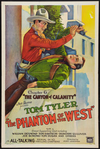 "The Phantom of the West (Mascot, 1931). One Sheet (27"" X 41"") Chapter 6 -- ""The Canyon of Calamity.""..."