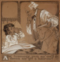 Mainstream Illustration, EMILY HALL CHAMBERLAIN (American, d. 1916). An' Tomorry.Graphite and gouache on board. 15 x 14 in.. Signed upper right...