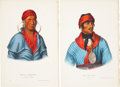 Antiques:Posters & Prints, McKenney and Hall. Two Hand-Colored Lithographs from the 1870Octavo Edition of History of the Indian Tribes of North Am...(Total: 2 Items)
