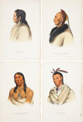 Antiques:Posters & Prints, McKenney and Hall. Four Hand-Colored Lithographs from the 1870Octavo Edition of History of the Indian Tribes of North A...(Total: 4 Items)