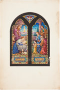 Books:Non-fiction, [Painting] Study for Stained Glass Memorial Window, ca. 1920. Colored on board, window design. Very good....