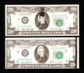Error Notes:Ink Smears, Fr. 2070-H $20 1969C Federal Reserve Note. Choice CU. Fr. 2071-D$20 1974 Federal Reserve Note. XF-AU.. ... (Total: 2 notes)