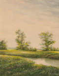 Mainstream Illustration, H. B. MAYARD (American, 20th Century). Countryside.Watercolor and gouache on paper. 9 x 7 in.. Signed lower right....