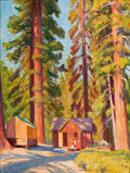 Mainstream Illustration, HOWARD E. SMITH (American, 1885-1970). Cabin the Woods. Oilon board. 17 x 13 in.. Signed lower right. From the Esta...