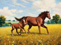 Mainstream Illustration, ARTHUR SARON SARNOFF (American, 1912-2000). Mare and Foal.Acrylic on board. 36 x 48 in.. Signed lower left. From th...