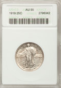 Standing Liberty Quarters: , 1919 25C AU55 ANACS. NGC Census: (14/516). PCGS Population (45/689). Mintage: 11,324,000. Numismedia Wsl. Price for problem...