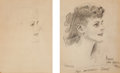 Mainstream Illustration, JAMES MONTGOMERY FLAGG (American, 1877-1960). Henryka, twoprofile sketches, 1943. Pencil on paper. 14.25 x 12 in. and1...