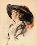 Pin-up and Glamour Art, HENRY PATRICK RALEIGH (American, 1880-1944). Pretty GirlProfile, 1902. Graphite, watercolor, and gouache on board. 17x...