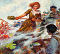Mainstream Illustration, AMERICAN ARTIST (20th Century). Molly Pitcher at the Battle ofMonmouth, Cream of Wheat ad illustration, c. 1933. Oil on...