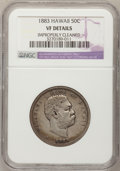 Coins of Hawaii: , 1883 50C Hawaii Half Dollar--Improperly Cleaned--NGC Details. VF.Mintage: 700,00...