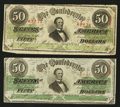Confederate Notes:1863 Issues, T57 $50 1863 Two Examples.. ... (Total: 2 notes)