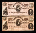 Confederate Notes:1864 Issues, T65 $100 1864 Two Examples.. ... (Total: 2 notes)