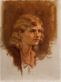 Mainstream Illustration, WALTER BEACH HUMPHREY (American, 1892-1966). Portrait of aLady. Oil on canvas. 16 x 12 in.. Initialed center right. ...