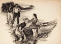 Mainstream Illustration, AMOS SEWELL (American, 1901-1983). Fishing Interrupted.Charcoal on board. 25.5 x 36 in.. Signed lower right. Fromt...