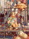 Mainstream Illustration, DEAN CORNWELL (American, 1892-1960). The Fire Escape. Mixedmedia on board. 15 x 10 in.. Not signed. From the Estate...