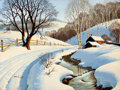 Mainstream Illustration, ARTHUR SARON SARNOFF (American, 1912-2000). Winter Blanket.Acrylic on board. 36 x 48 in.. Signed lower left. From t...