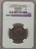 Colonials: , 1783 1C Washington & Independence Cent, Draped Bust,Button--Damaged--NGC Details. VG. NGC Census: (0/4). PCGSPopulation (...