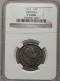 Colonials: , 1723 1/2P Hibernia Halfpenny Fine 15 NGC. NGC Census: (1/102). PCGSPopulation (6/393). (#180)...