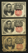 Fractional Currency:Fifth Issue, Fr. 1265 10¢ Fifth Issue Good.. ... (Total: 3 notes)