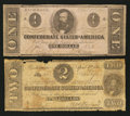 Confederate Notes:Group Lots, T55 $1 1862.. T61 $2 1863.. ... (Total: 2 notes)