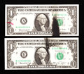 Error Notes:Ink Smears, Fr. 1908-B $1 1974 Federal Reserve Note. About Uncirculated.. Fr.1915-A $1 1988A Federal Reserve Note. Extremely Fine.... (Total: 2notes)