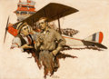 Mainstream Illustration, THORNTON D. SKIDMORE (American, 1884-1984). The Air Show Hero,Saturday Evening Post illustration, c. 1920-25. Oil on bo...