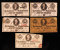 Confederate Notes:1863 Issues, T63 50 Cents 1863 Three Examples. T72 50 Cents 1864 Two Examples..... (Total: 5 notes)