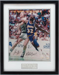 Basketball Collectibles:Photos, Larry Bird and Magic Johnson Signed Upper Deck AuthenticatedPhotograph....