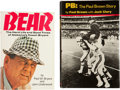 Football Collectibles:Publications, Bear Bryant and Paul Brown Signed Hardcover Books Lot of 2....