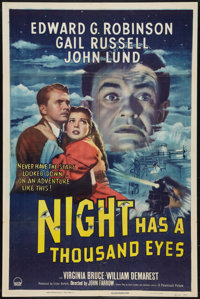"Night Has a Thousand Eyes (Paramount, 1948). One Sheet (27"" X 41""). Film Noir"