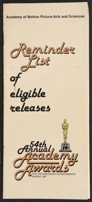 "Academy Awards Best Picture Ballot Lot (AMPAS, 1981). Eligible Release Brochure (4"" X 9""), Best Picture Ballot..."