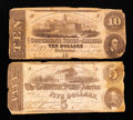 Confederate Notes:1862 Issues, T52 $10 1862. T53 $5 1862.. ... (Total: 2 notes)