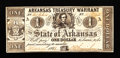 Obsoletes By State:Arkansas, Error Note - (Little Rock, AR)- Arkansas Treasury Warrant $1 Mar. 10, 1863 Cr. 30. ...