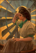 Mainstream Illustration, REMINGTON SCHUYLER (American, 1884-1955). Girl Scout Leader.Oil on canvas, mounted on board. 39 x 26 in.. Signed. ...
