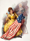 Mainstream Illustration, PAUL STAHR (American, 1883-1953). Young Betsy Ross, The Elksmagazine cover, July 1927. Oil on canvas. 36 x 27.5 in.. S...
