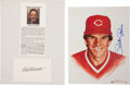 Baseball Collectibles:Others, Bart Giamatti and Pete Rose Signed Memorabilia Lot of 2....