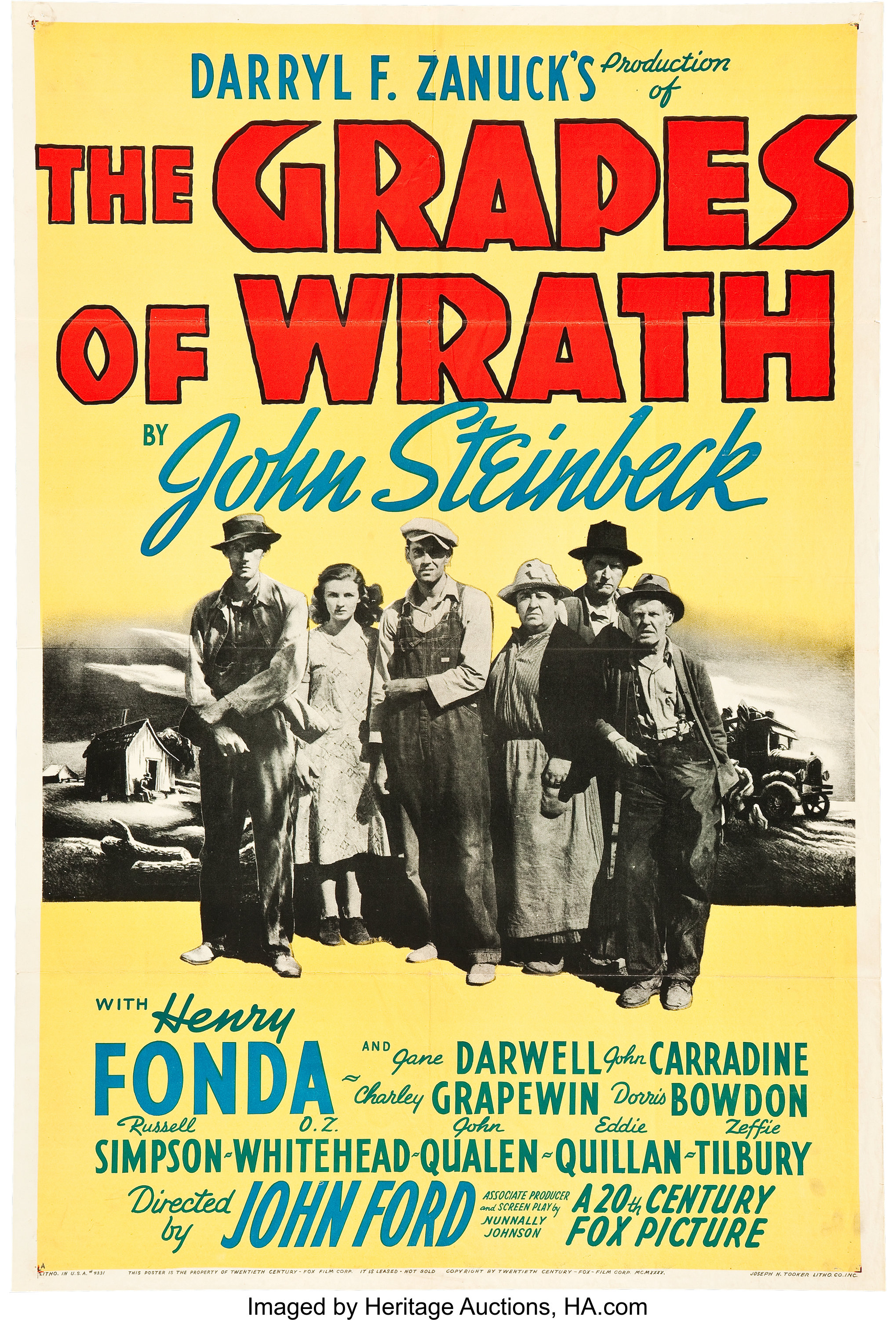 """The Grapes of Wrath (20th Century Fox, 1940). One Sheet (27"""" X 41"""") 