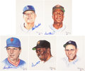 Baseball Collectibles:Photos, Major League Hall of Famers Signed Ron Lewis Prints Lot of 5....