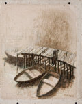 Latin American:Contemporary, HEUSTIN BEJARANO (Cuban, 20th Century). Three Rowboats atDock, 2006. Oil on canvas . 22 x 18 inches (55.9 x 45.7 cm).S...