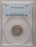 Bust Dimes, 1827 10C PCGS Genuine. The PCGS number ending in .92 suggestsCleaning as the reason, or perhaps one of the reasons, that P...