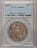 1862-S 50C PCGS Genuine. The PCGS number ending in .92 suggests Cleaning as the reason, or perhaps one of the reasons, t...