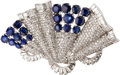 Estate Jewelry:Suites, Art Deco Sapphire, Diamond, Platinum Brooches. ... (Total: 2 Items)