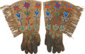 American Indian Art:Beadwork and Quillwork, A PAIR OF PLATEAU BEADED HIDE GAUNTLETS. c. 1910... (Total: 2Items)