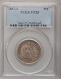 Seated Quarters: , 1865-S 25C VF25 PCGS. PCGS Population (6/29). NGC Census: (0/30).Mintage: 41,000. Numismedia Wsl. Price for problem free N...