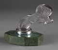 Miscellaneous, FROM FROM AN AMERICAN PRIVATE COLLECTION. R. LALIQUE. 'CinqCheveaux' automobile mascot on original chrome collar and gree...