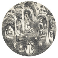 ITZHAK DANZINGER (Israeli, 1916-1977) Jungle Seance, 1960 Ink on paper Circular with 10-1/4in. diameter Signed at le
