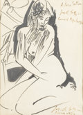 Fine Art - Painting, European:Contemporary   (1950 to present)  , PERICLE FAZZINI (Italian, 1913-1987). Seated Nude, 1954. Ink on paper. 12-1/2in. x 9in.. Signed at lower right Pericle... (Total: 1 Item)