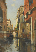 Fine Art - Painting, European:Antique  (Pre 1900), MAURICE BOMPARD (French, 1857-1936). Au canal a Venice. Oilon canvas. 18in. x 13in.. Signed at lower left Maurice Bom...(Total: 1 Item)
