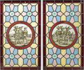 Art Glass:Other , A Pair of Flemish Stained Glass Panels. Unknown maker, Belgium.19th century. Leading, glass. Unmarked. 25.5 inches high x...(Total: 2 Items)