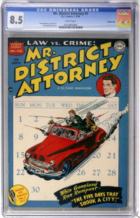 Mr. District Attorney #1 Carson City pedigree (DC, 1948) CGC VF+ 8.5 White pages